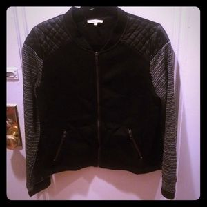 Black Quilted Faux Leather Moto Style Jacket